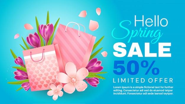 Olá primavera. banner de venda