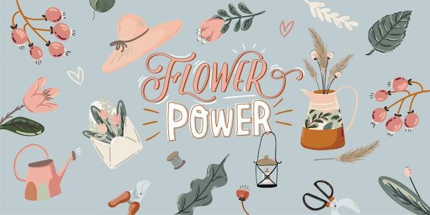 Olá primavera bonito conjunto com elementos de jardim mão desenhada, ferramentas e letras românticas.