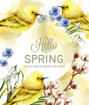 Olá primavera cartão aquarela