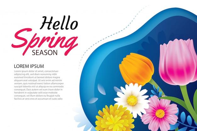 Olá primavera cartão e convite com flores.