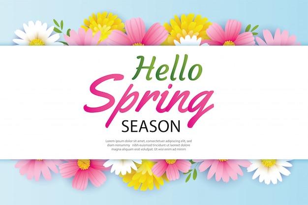 Olá primavera cartão e convite flores fundo