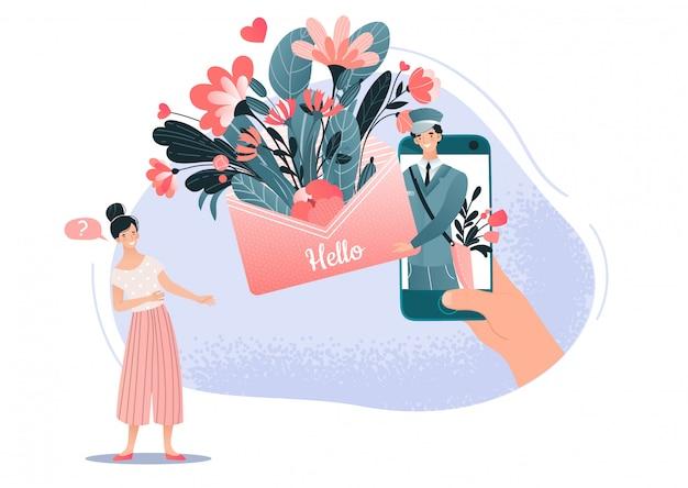 Olá, primavera, carteiro, letra, correio, flores, buquet, elementos, branco, fundo, caricatura, pessoas, homem, e, mulher, vetorial, illustration. notícias de amor feminino e masculino na primavera