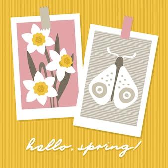 Olá primavera cartões sazonais.