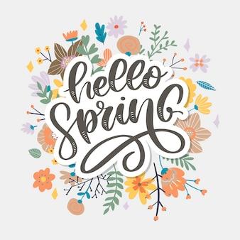 Olá primavera - citação de inspiração desenhada de mão.