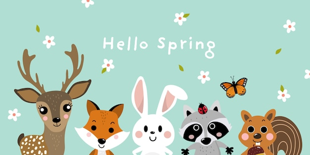 Olá primavera com animais fofos