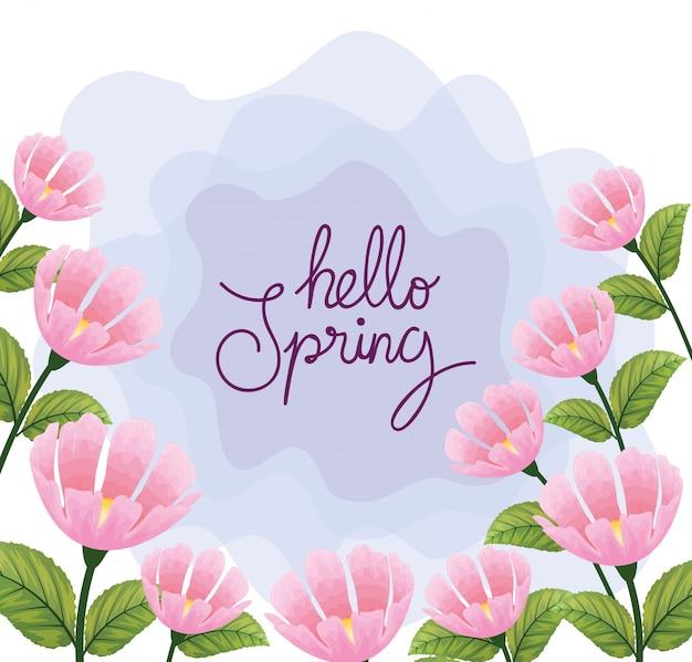Olá primavera com decoração de flores e folhas