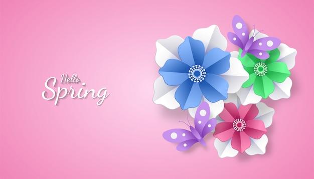 Olá primavera com estilo de arte de corte de papel de flor e borboleta