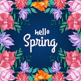Olá primavera com floração floral e folhas
