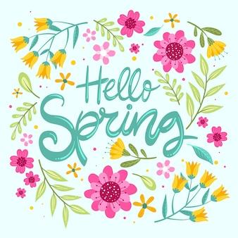 Olá primavera com flores coloridas