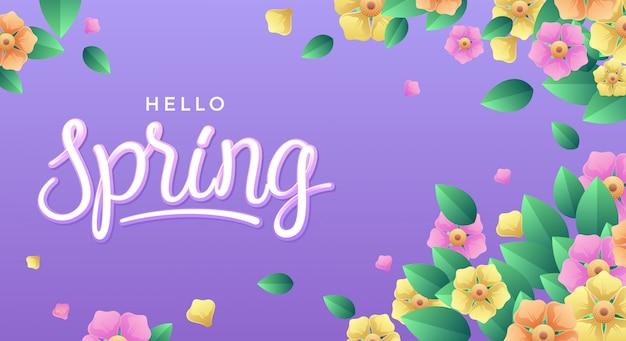 Olá primavera com flores e folhas