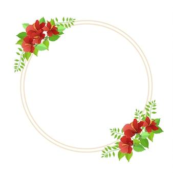 Olá primavera com lindas folhas e flores em um círculo
