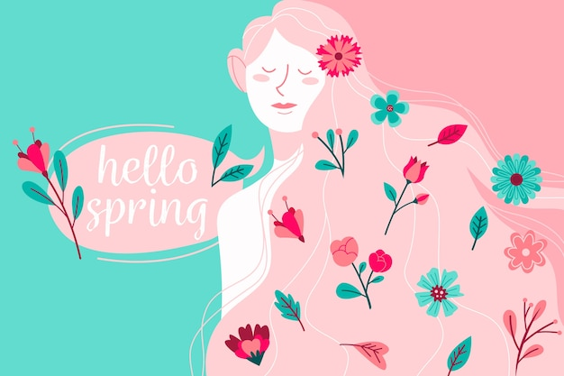 Olá primavera com mulher e flores