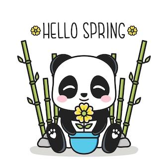 Olá primavera com panda fofo e vaso de flores