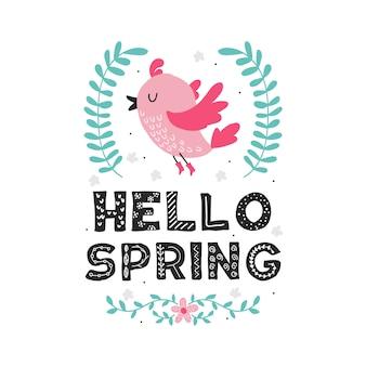 Olá primavera com pássaro bonito