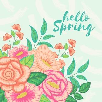Olá primavera com tema colorido