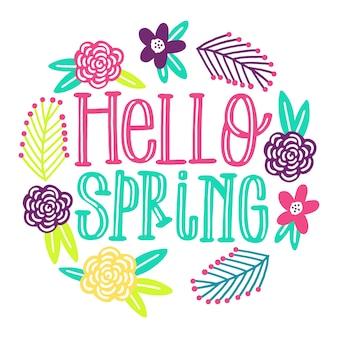 Olá primavera com vegetação colorida
