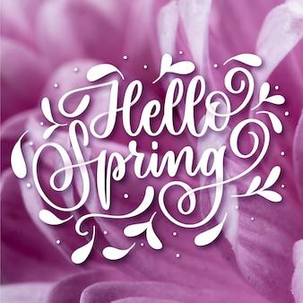 Olá primavera desenhado à mão