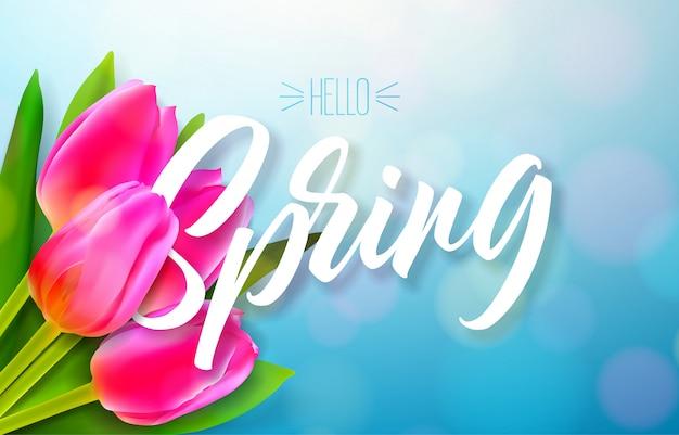 Olá primavera design de natureza com buquê de flores de tulipa