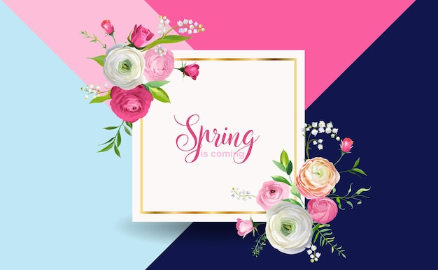 Olá primavera design floral com flores cor de rosa desabrochando. fundo botânico de primavera para decoração, cartaz, banner, voucher, venda. ilustração vetorial