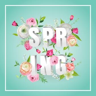 Olá primavera design floral com flores desabrochando. fundo botânico de primavera com rosas para decoração, cartaz, banner, voucher, venda, t-shirt. ilustração vetorial