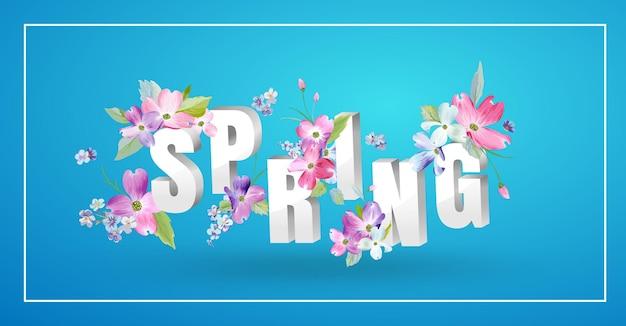 Olá primavera design floral com flores desabrochando. fundo botânico de primavera com rosas para decoração, cartaz, banner, voucher, venda, t-shirt, impressão. ilustração vetorial