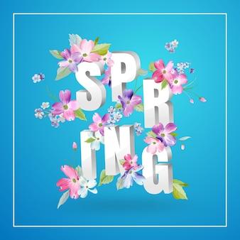 Olá primavera design floral com flores desabrochando. fundo botânico de primavera para decoração, cartaz, banner, voucher, venda, t-shirt. ilustração vetorial