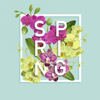 Olá primavera design. flores de orquídea tropical