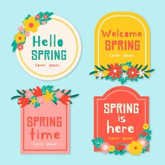 Olá primavera é aqui coleção de distintivo de design plano