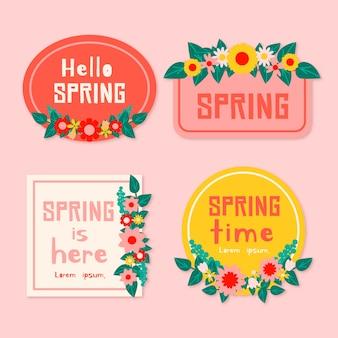 Olá primavera é aqui coleção de rótulo design plano
