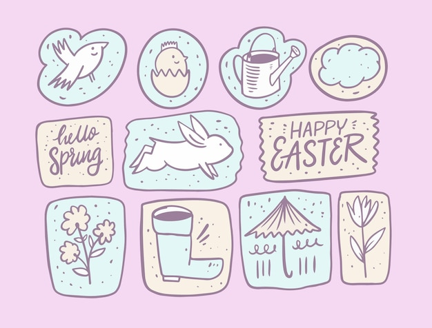 Olá primavera e feliz páscoa. elementos do conjunto de doodle desenhado de mão.