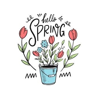 Olá primavera e flores em um balde. estilo de desenho animado desenhado de mão.
