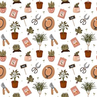 Olá primavera e jardinagem. jardim em casa padrão sem emenda com elementos de giros no estilo cartoon plana.