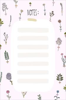 Olá primavera e verão modelo de planejador com flores fofos no estilo de contorno liso. organizador com lugar para anotações, lista de afazeres, lista de desejos.
