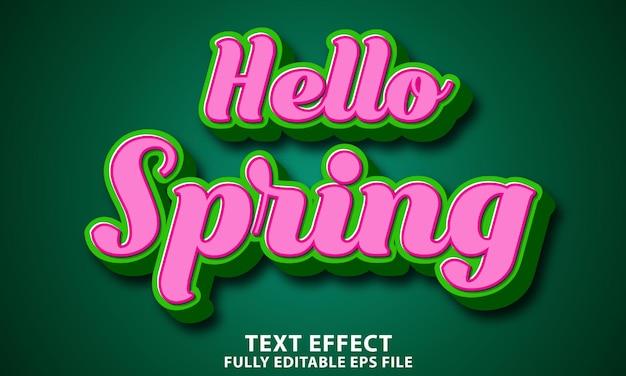 Olá primavera efeito de texto totalmente editável