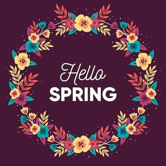 Olá primavera em design plano com coroa de flores