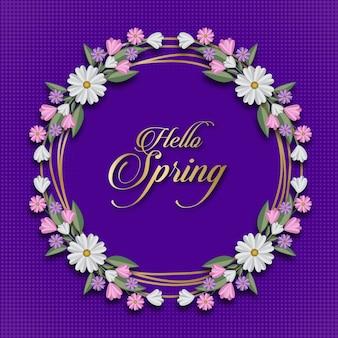 Olá primavera floral cartão modelo