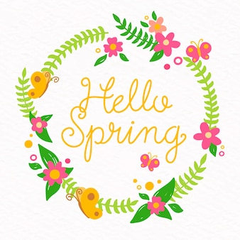 Olá primavera floral fundo