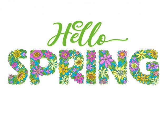 Olá primavera flores texto