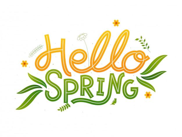 Olá primavera fonte com flores e folhas