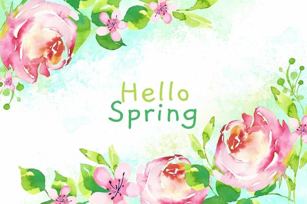 Olá primavera fundo aquarela