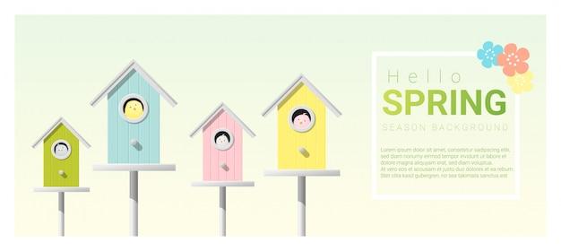 Olá primavera fundo com passarinhos em birdhouses