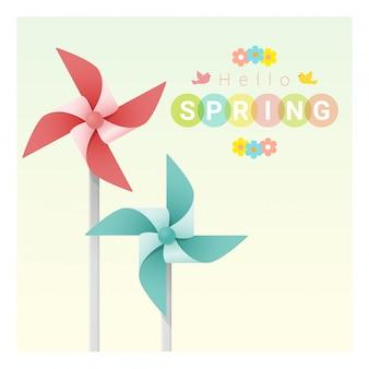 Olá primavera fundo com pinwheels coloridos