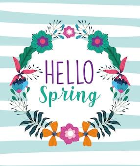Olá primavera, grinalda floral flores folhas natureza fundo listrado
