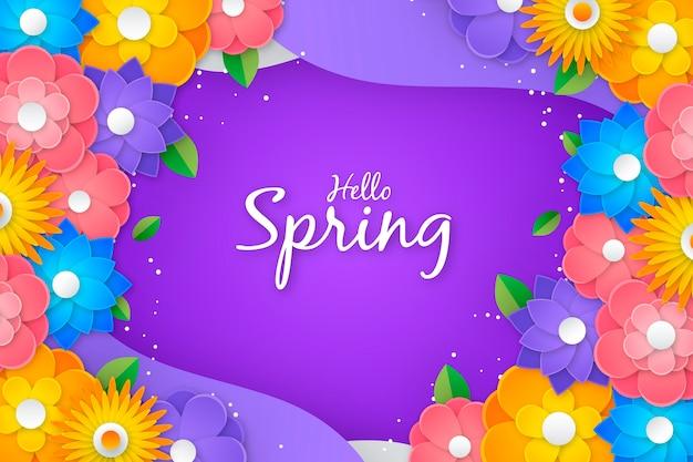 Olá primavera letras coloridas em estilo de fundo de papel