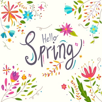 Olá primavera letras florais