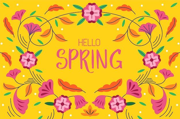 Olá primavera letras fundo