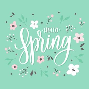 Olá primavera letras inscrição com flores. cartão de amor