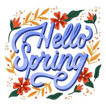Olá primavera letras saudação com folhas douradas