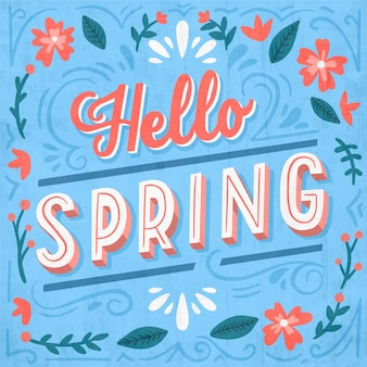 Olá primavera letras saudação projeto vintage