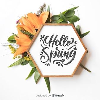 Olá primavera lettering fundo